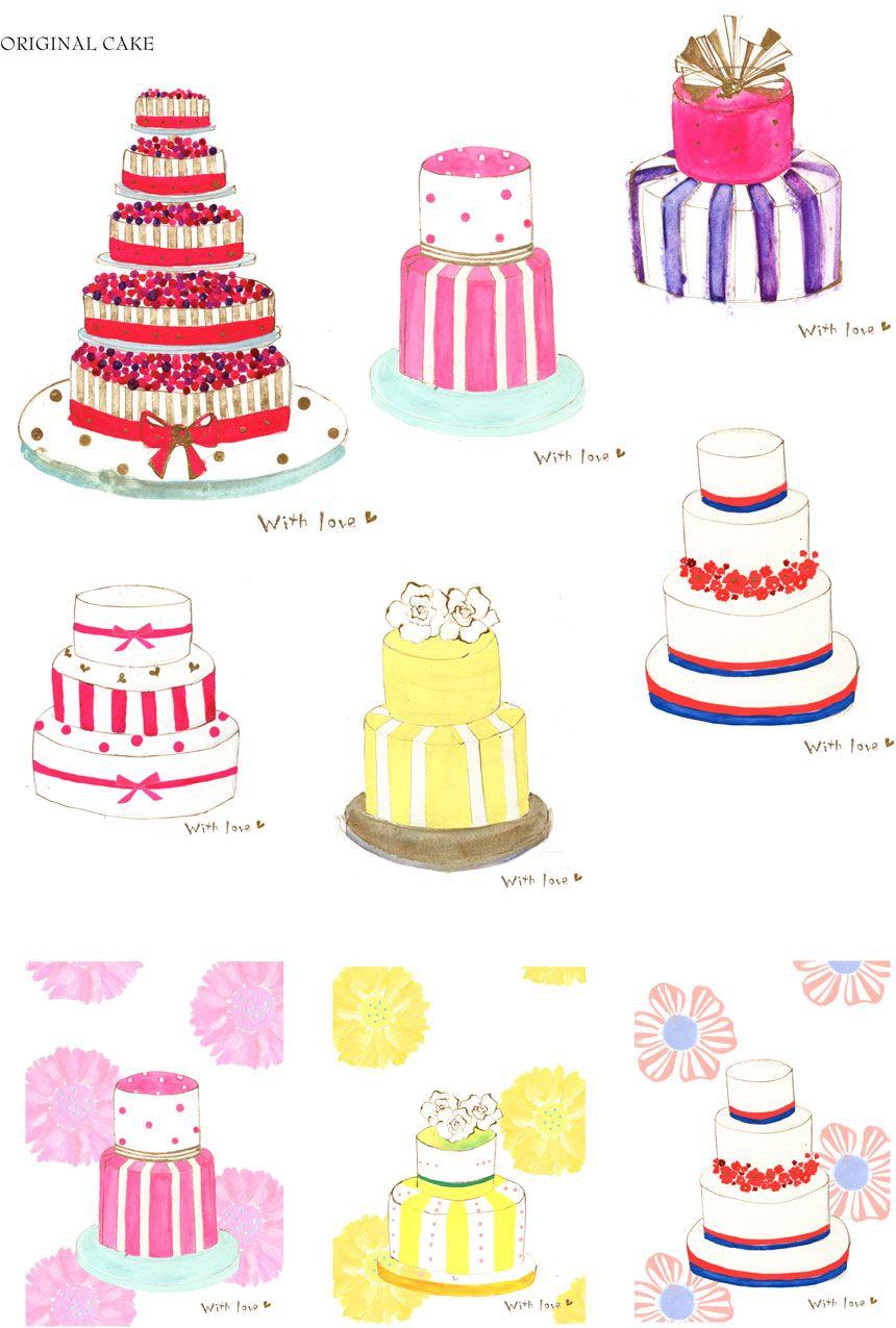 食品 食べ物のイラスト ケーキ イラストレーター 押金 美和 ケーキイラスト バースデーケーキ イラスト バースデー サプライズ