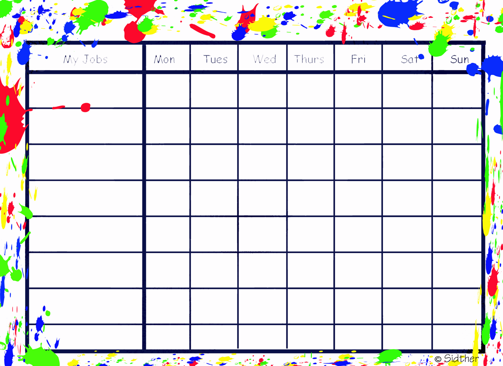 Printable Blank Charts  That Sounds Like Work It Is Work So I