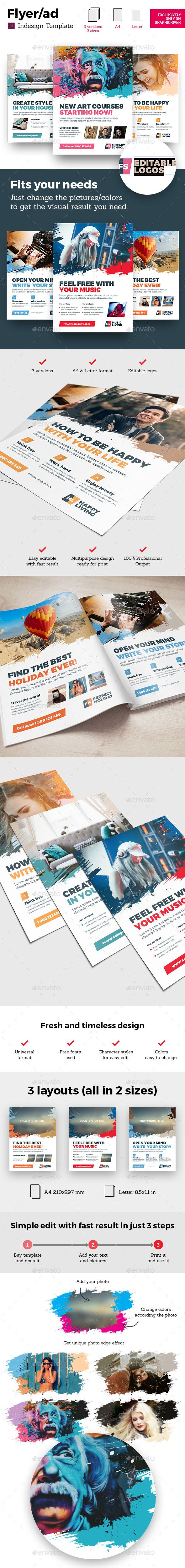 Art Business Universal Flyer/ad 3x InDesign and Photoshop Brush ...