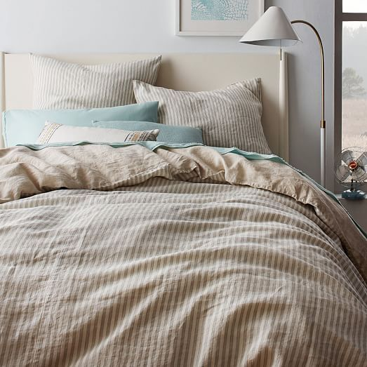 9d3ad76e13 Striped Belgian Flax Linen Duvet Cover + Shams | west elm ...