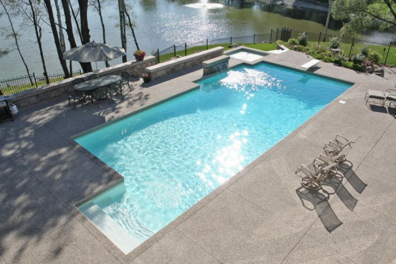 Ancaster A White Marbelite Finish Provides That Gorgeous Turquoise Colour That Defines The Concrete Pool P16 Pool Pool Cabana Concrete Pool