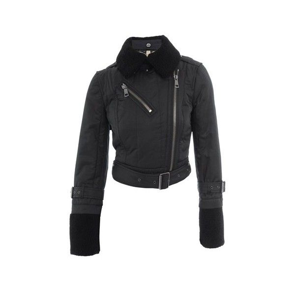 BURBERRY Padded Jacket (€345) ❤ liked on Polyvore featuring outerwear, jackets, black, black zip jacket, canvas jacket, zip jacket, black canvas jacket y burberry