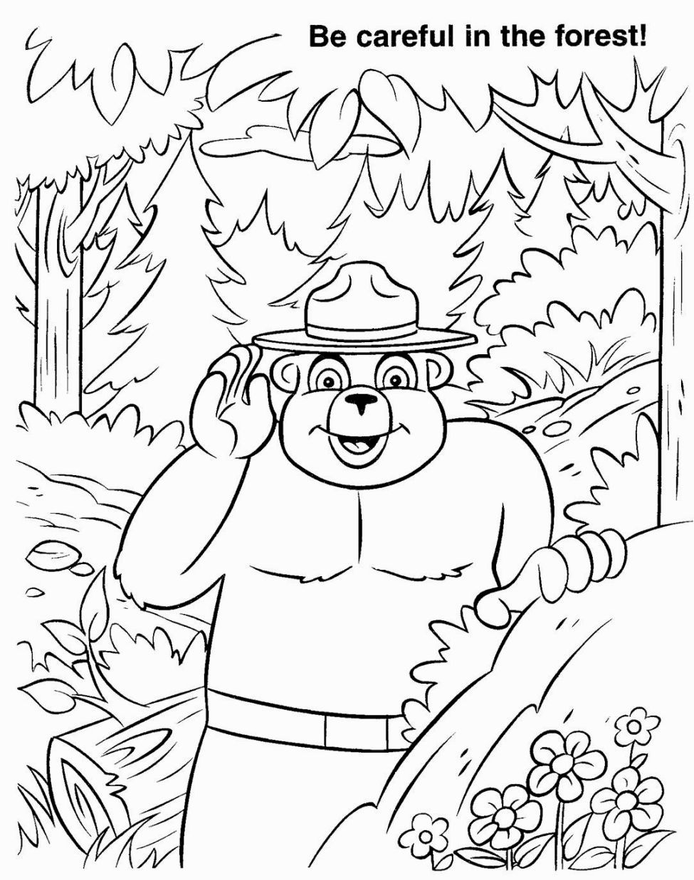smokey the bear coloring pages # 13