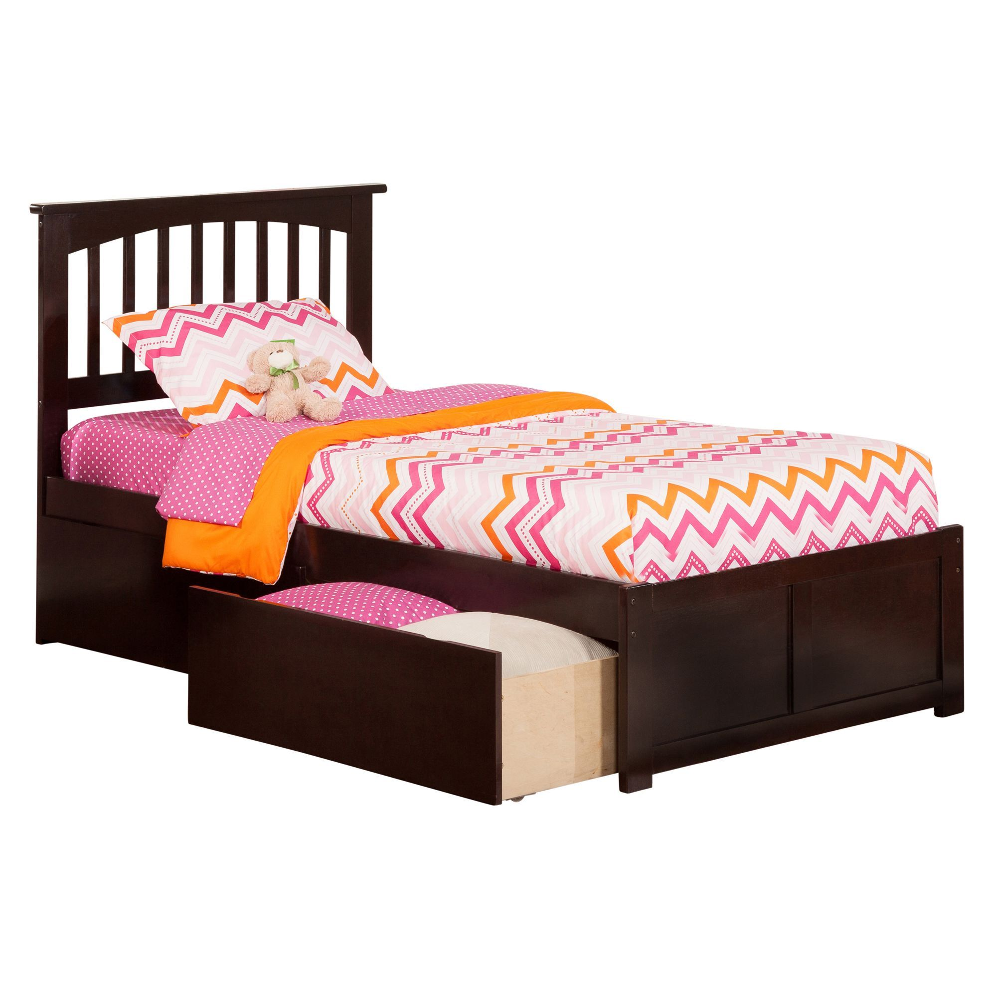Mission Twin XL Platform Bed with Flat Panel Foot Board