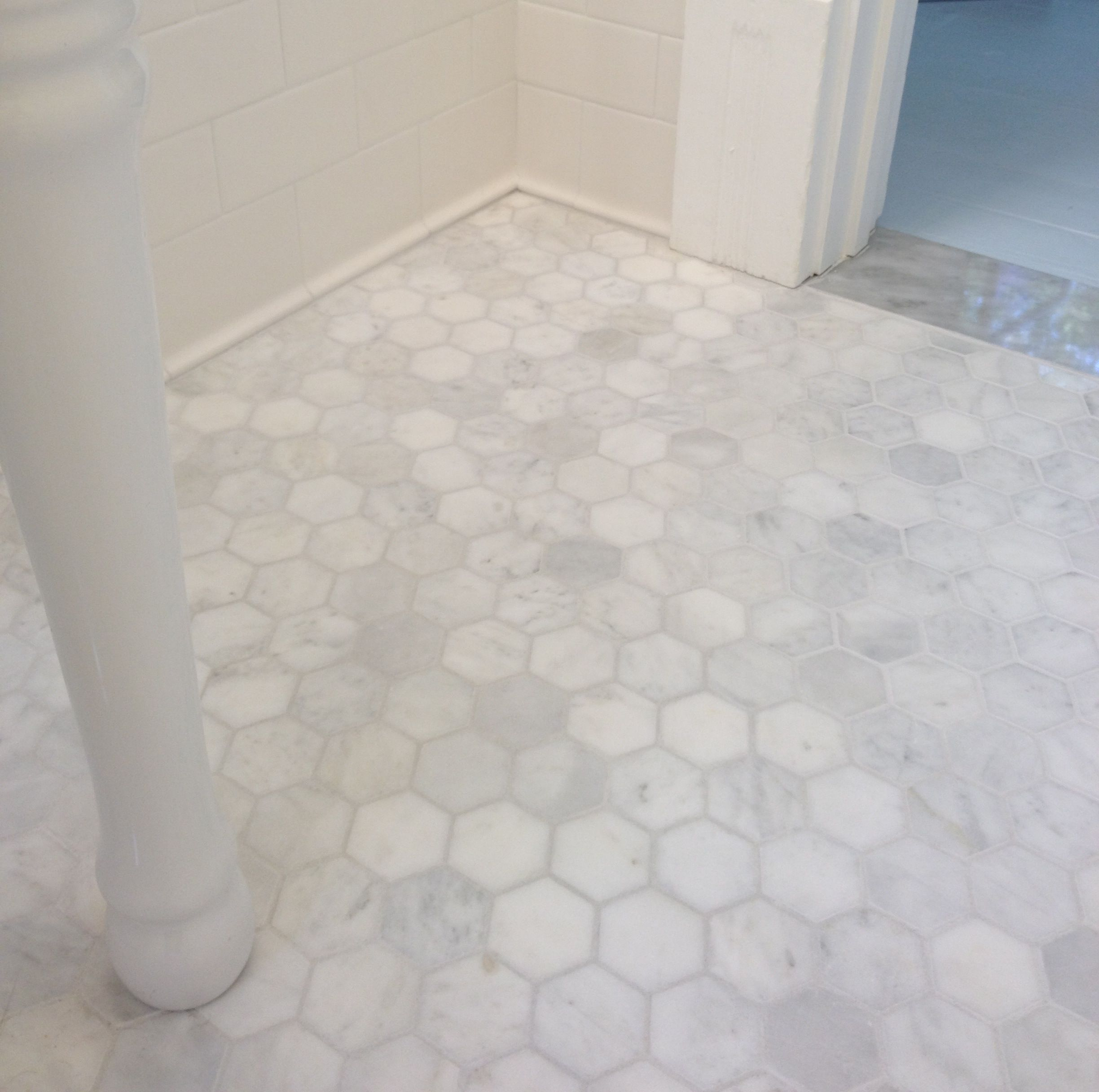 Marble Hexagon Tile, Grey Grout, Subway Tile, Porcelain Console Sink. Grey  Carrara