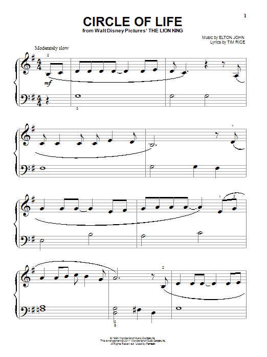 Circle Of Life By Elton John Big Note Piano Digital Sheet Music