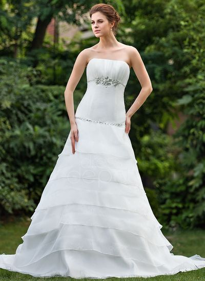 A-Line/Princess Strapless Cathedral Train Organza Wedding Dress With Ruffle Beading (002001289) http://www.dressdepot.com/A-Line-Princess-Strapless-Cathedral-Train-Organza-Wedding-Dress-With-Ruffle-Beading-002001289-g1289 Wedding Dress Wedding Dresses #WeddingDress #WeddingDresses