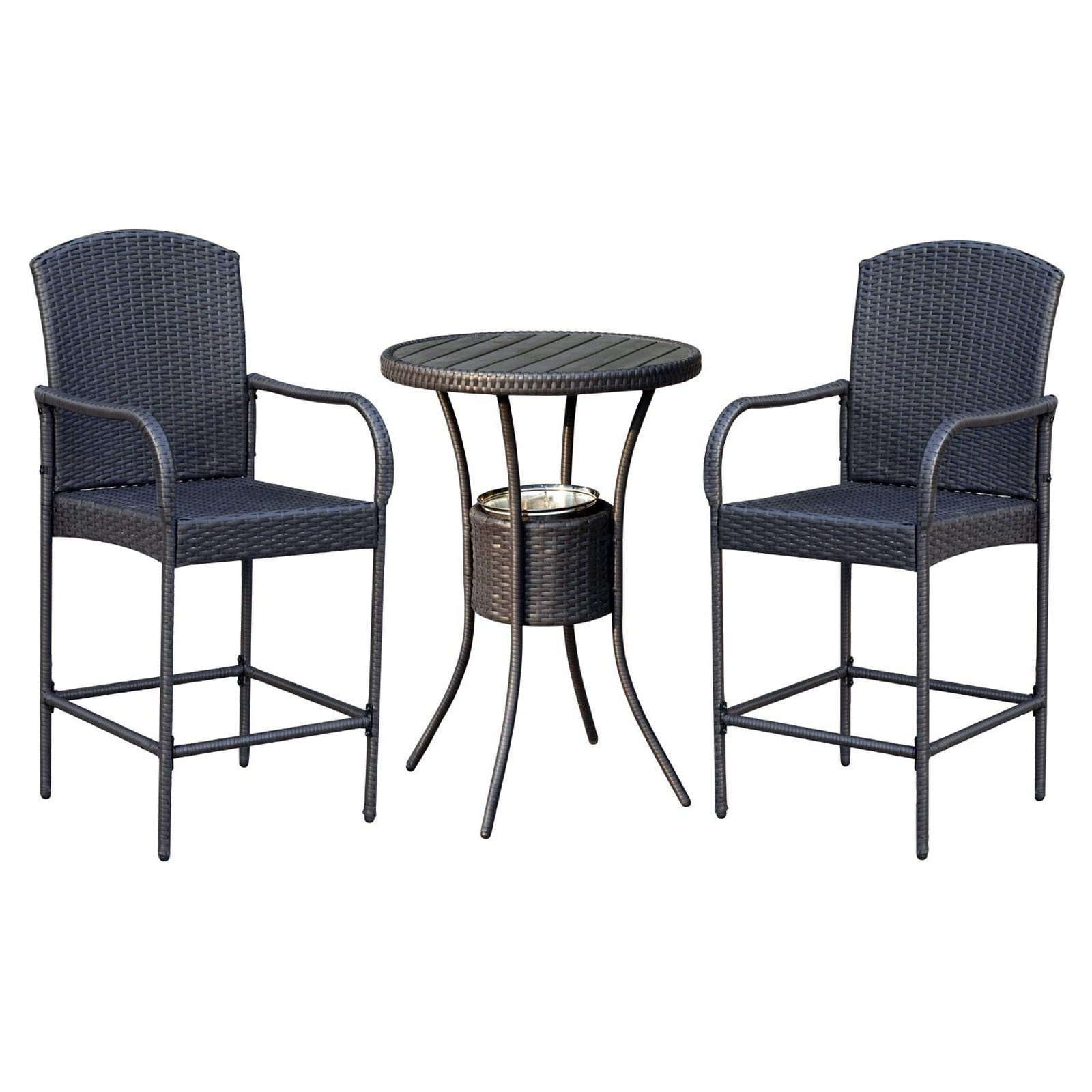 Outdoor Outsunny Rattan Wicker 3 Piece Patio Bar Height Bistro Set