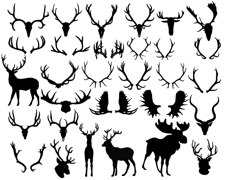 Antler Silhouette, Antler Clipart, Animal Clip Art, Deer