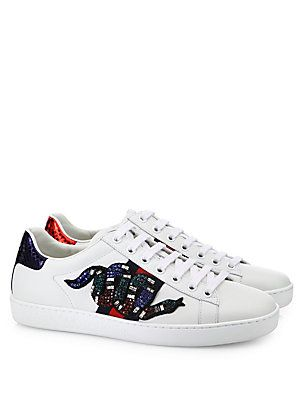 Gucci New Ace Crystal-Embroidered Snake Leather Low-Top Sneakers ... a7c59565eb8