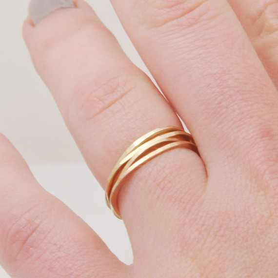Slim and Pebble Stacking Rings  by Favor Jewelry