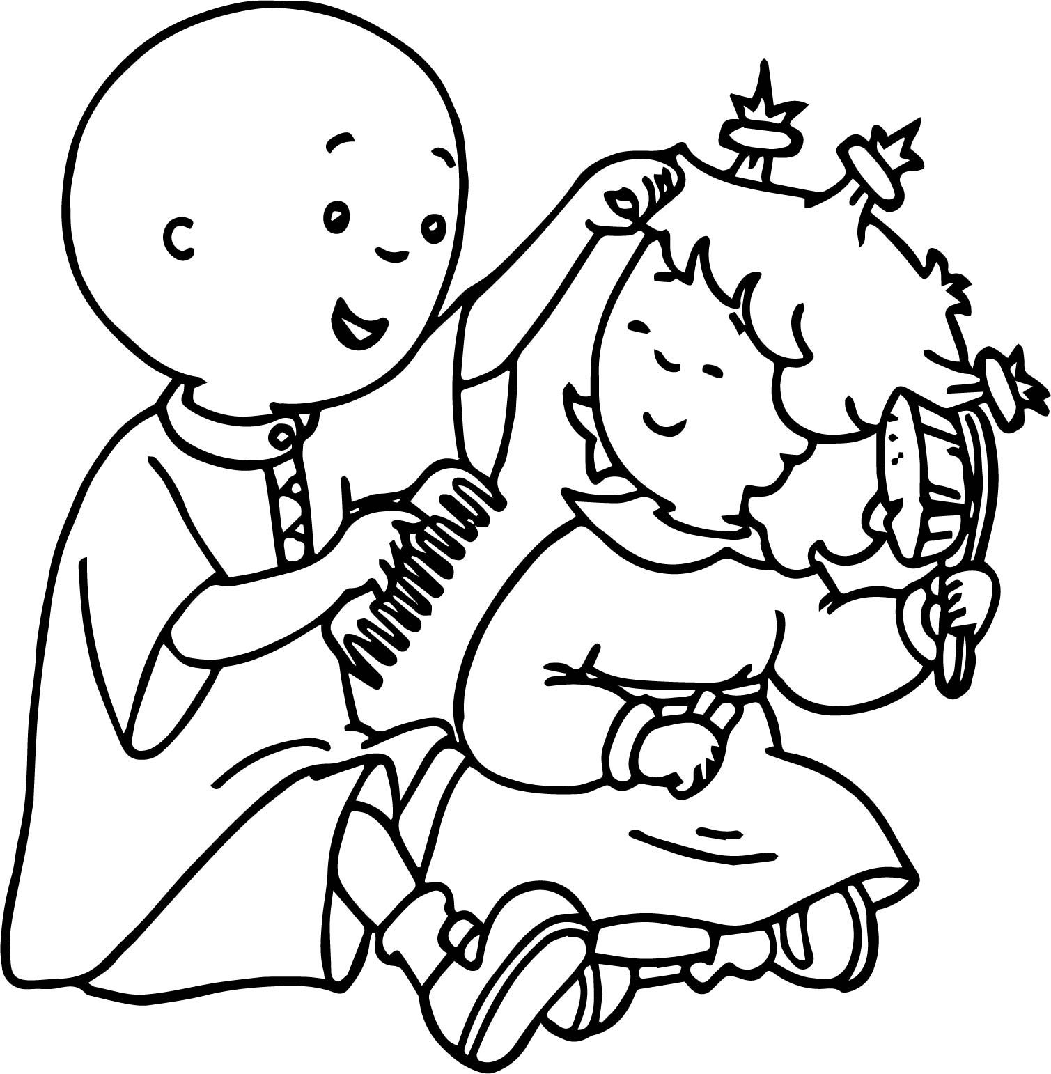 Awesome Caillou And Sister Brush Hair Coloring Page