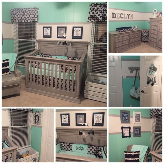Declyn's Nursery. Baby Boy Nursery. Grey Mint Green Navy