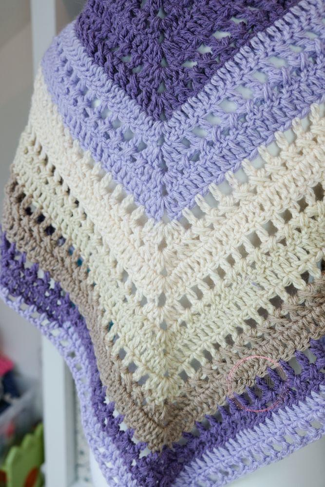 Gratis Häkelanleitung für das Häkeltuch - der Lavendeltraum - Yarnhild #shawlcrochetpattern