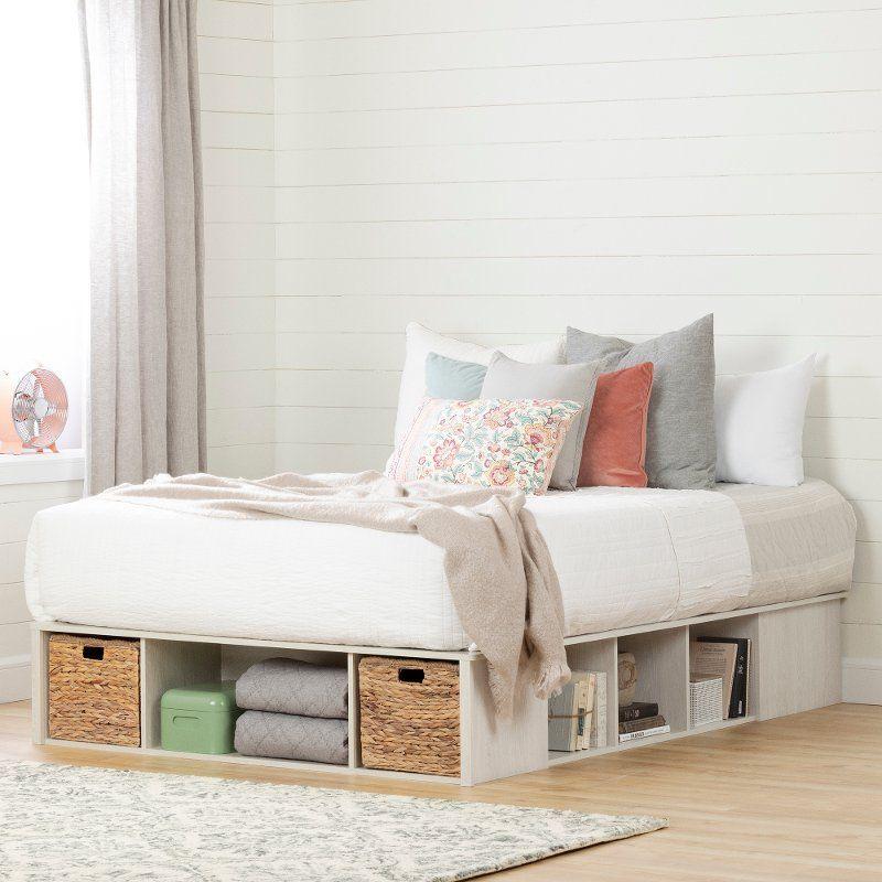 Oak White Queen Storage Platform Bed With 2 Baskets Avilla