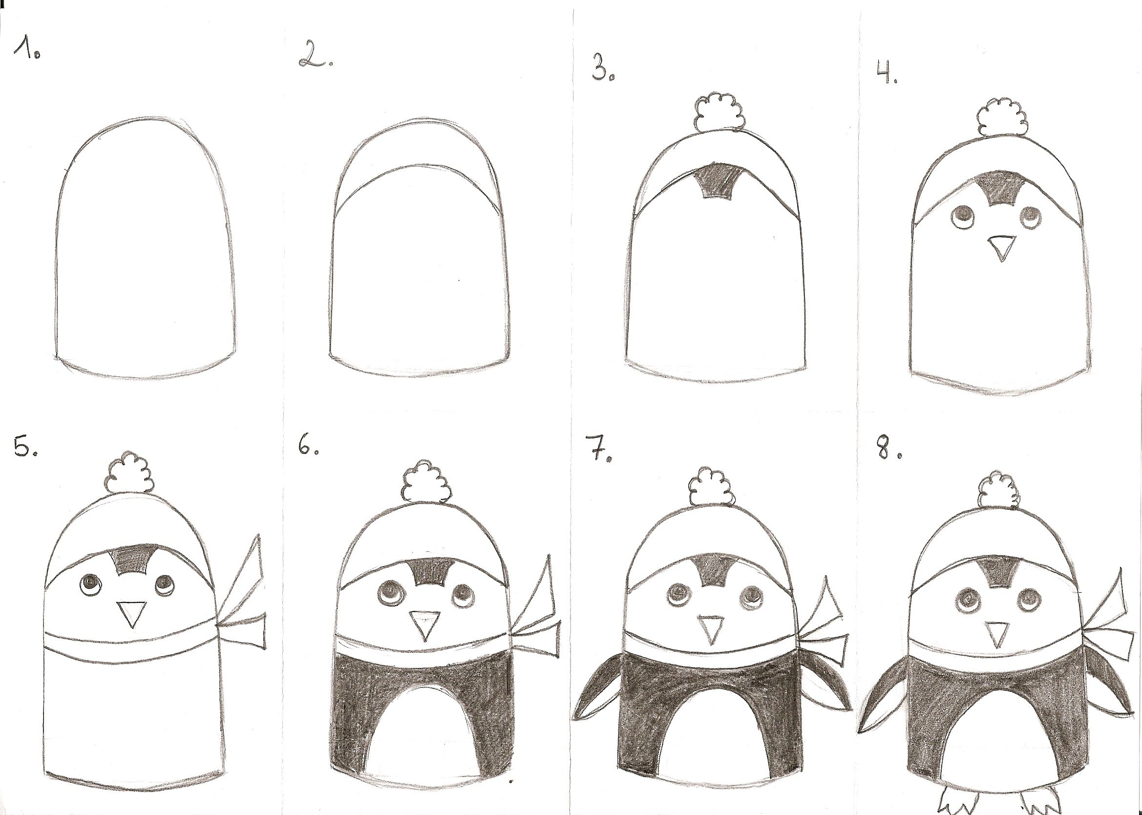 How To Draw A Penguin 1st 2nd Grade
