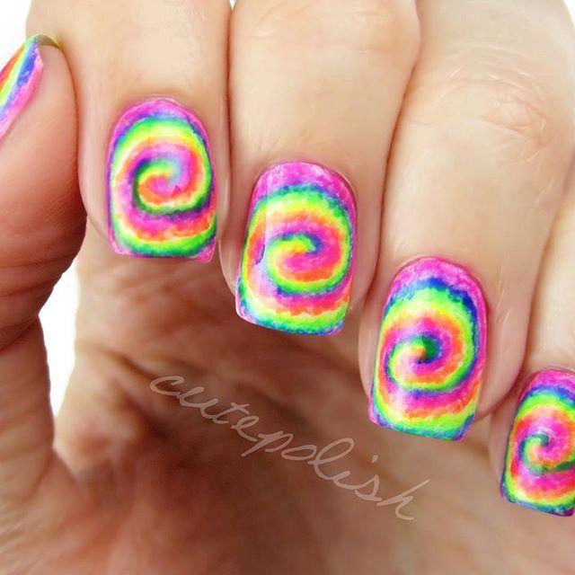 Neon Rainbow Swirl Nails!