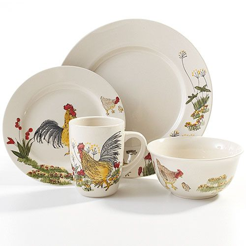 Dinnerware Sets | 4 8 12 16 Piece Sets \u0026 More  sc 1 st  Pinterest & Rooster Dinnerware Set Clearance | 206024 Paula Deen Southern ...