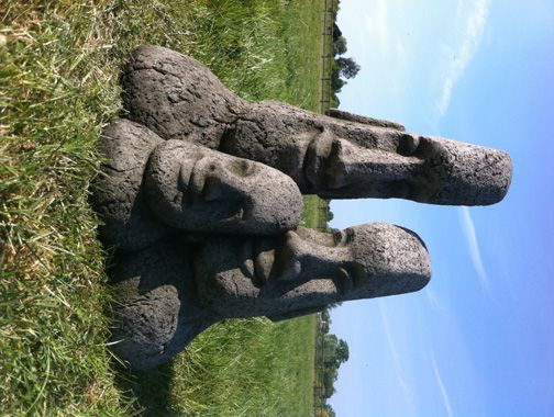 Statues » Easter Island Family Heads Garden Tiki Statue Ornament
