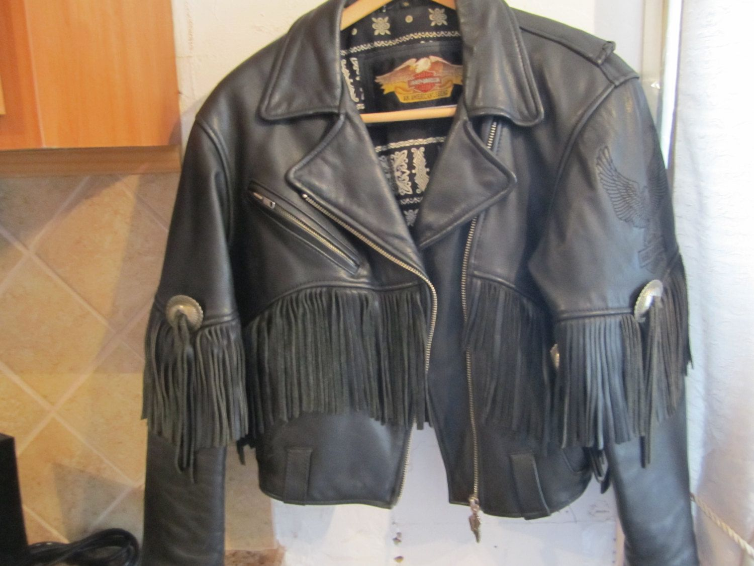 HARLEY DAVIDSON bomber jacket with embroidered logo on back, 1990's vintage biker jacket, size L