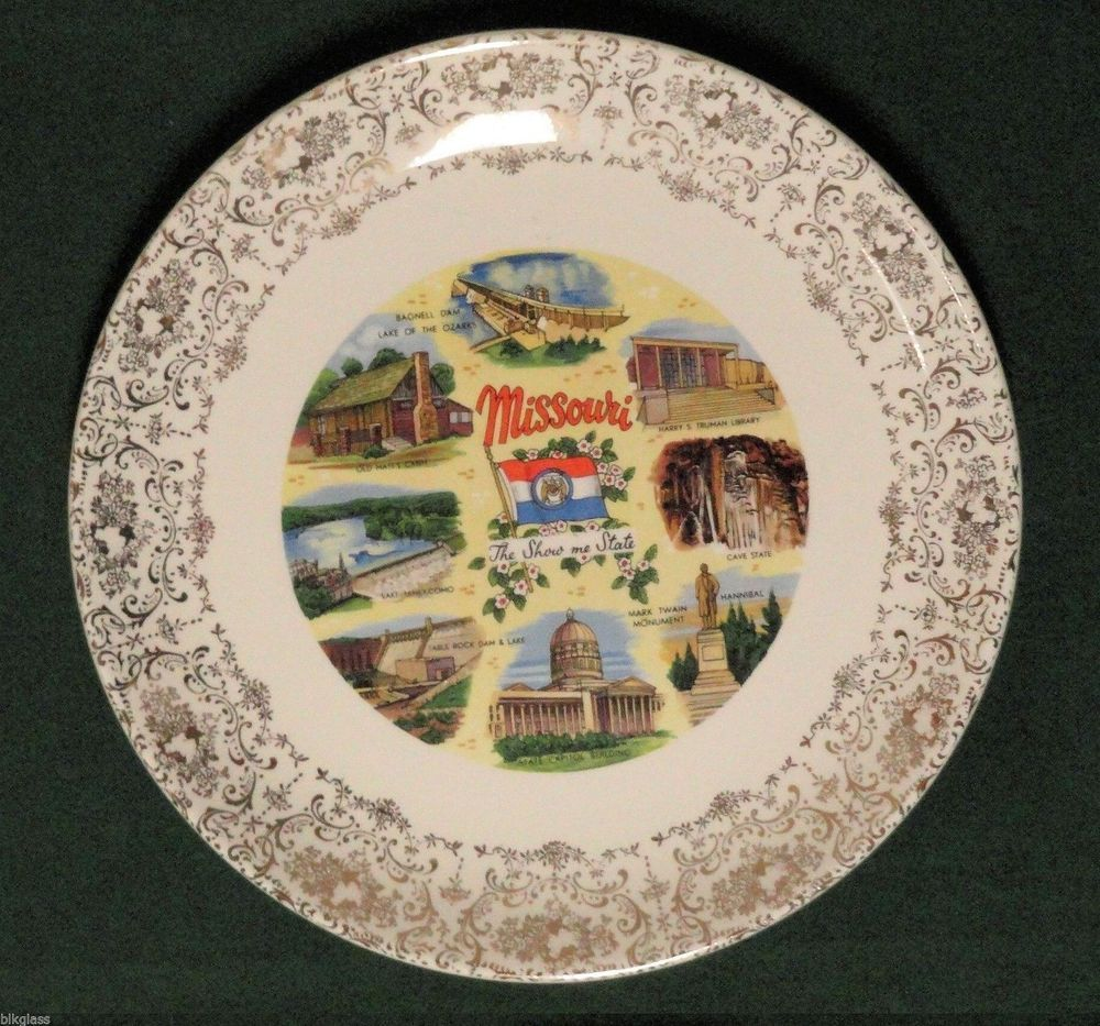 State Plate MO Show Me Missouri, 9 Color Scenes. Gold Filigree ...