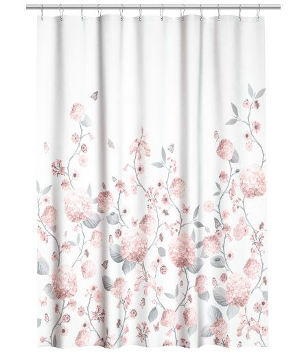 Printed Shower Curtain White Floral Home H M Us
