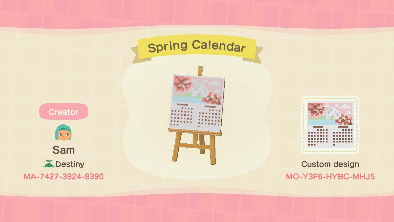 Animal Crossing Spring Cherry Blossom Calendar Design Animal Crossing Animal Crossing Qr Calendar Design