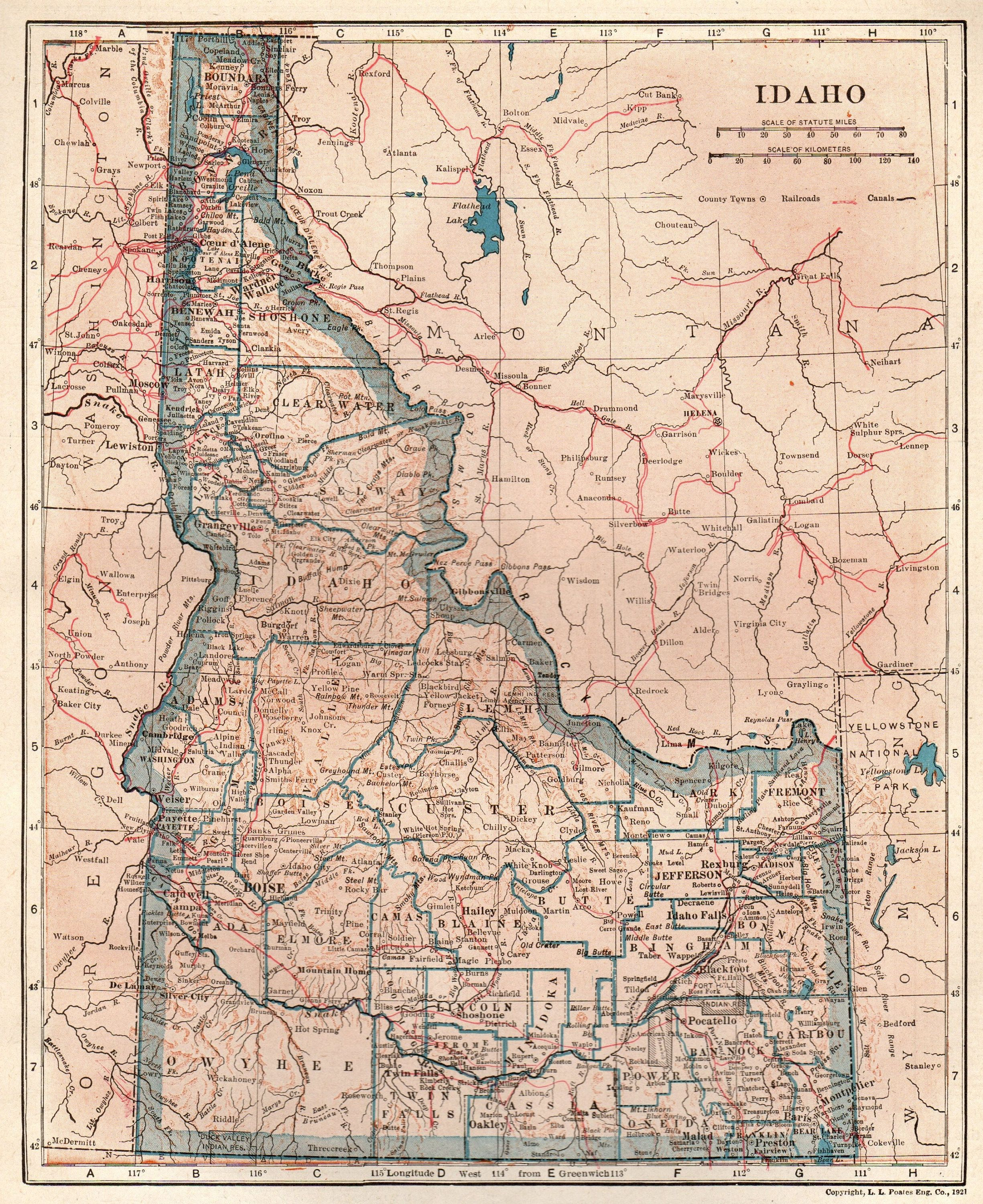 1929 Antique Idaho Map Of Idaho State Map Gallery Wall Art Home Library Decor Gift For Traveler Map Collector Birthday Wedding 8851 Map Poster Prints State Map
