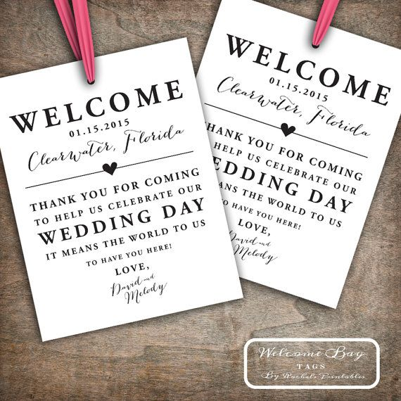 Custom printable wedding welcome bag tags labels hotel welcome custom printable wedding welcome bag tags labels hotel welcome bags destination welcome bags junglespirit Image collections