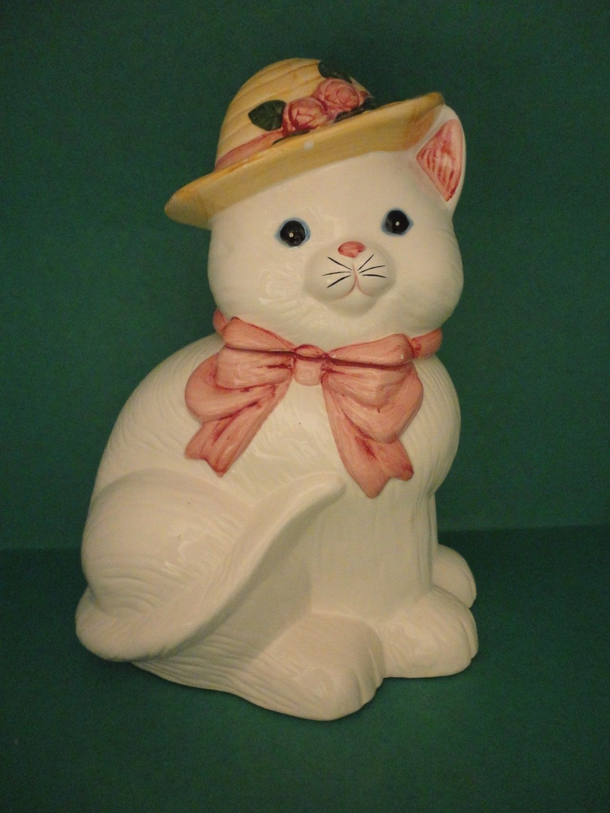 Sitting Pretty White Ceramic Cat Tan Hat and Pink Ribbon Bow Cookie Jar.