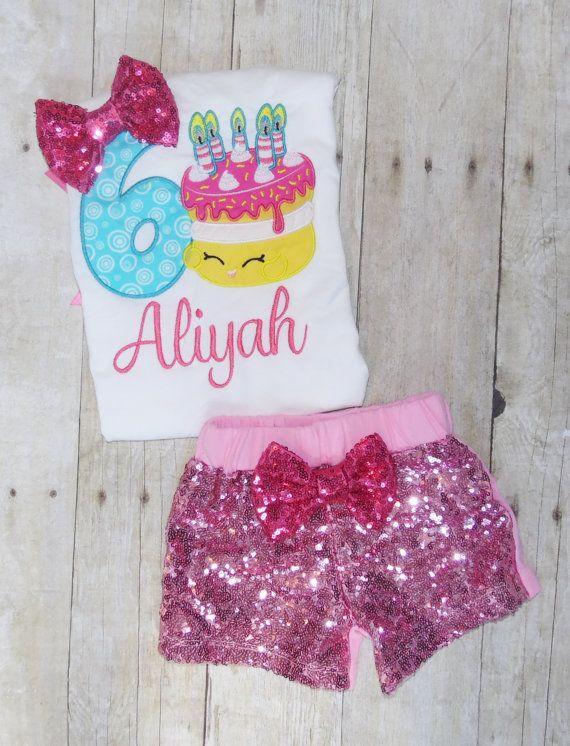 Handmade Embroidered Girls Shopkins Wishes Birthday Custom Shirt
