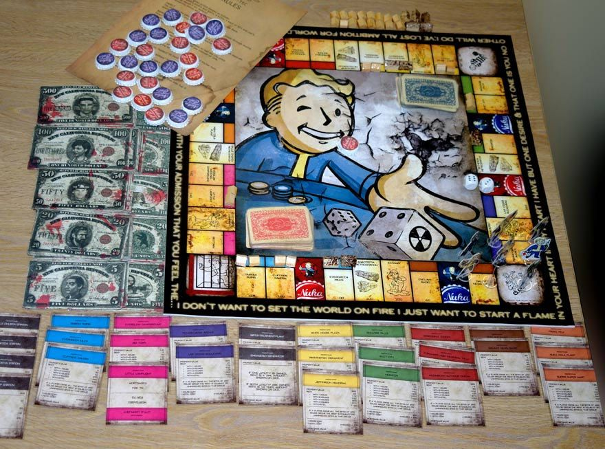 Hand made fallout themed monopoly set The incredibles