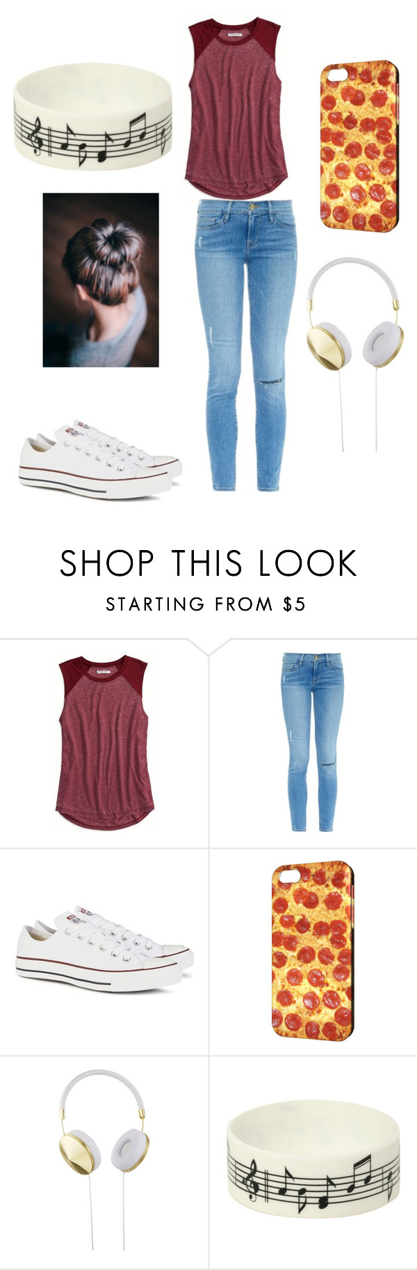 """casual lazy day"" by kimberly58227 ❤ liked on Polyvore featuring American Eagle Outfitters, Frame Denim, Converse, Frends, Music Notes, women's clothing, women, female, woman and misses"