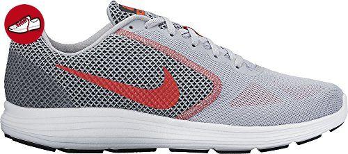 Nike Herren Revolution 3 Laufschuhe, Mehrfarbig (Gris / Rojo / Wolf Grey /  Track