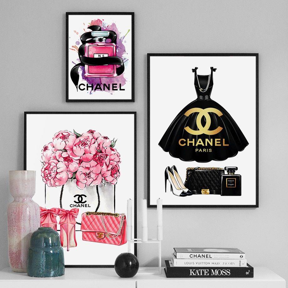 Mode Livre Paris Parfum Robe Rouge A Levres Mur Art Toile