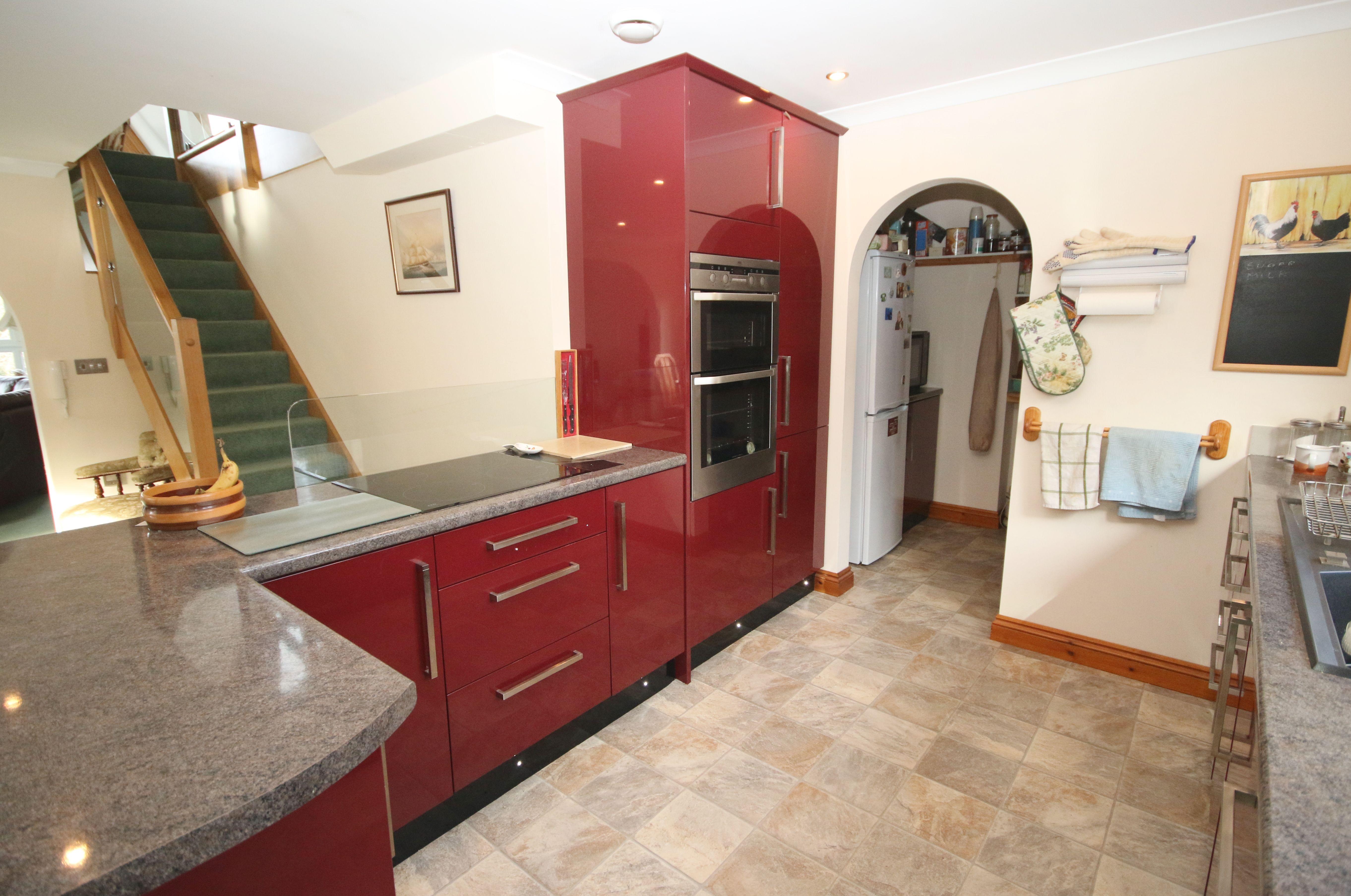 Modern Kitchen In Red Grey