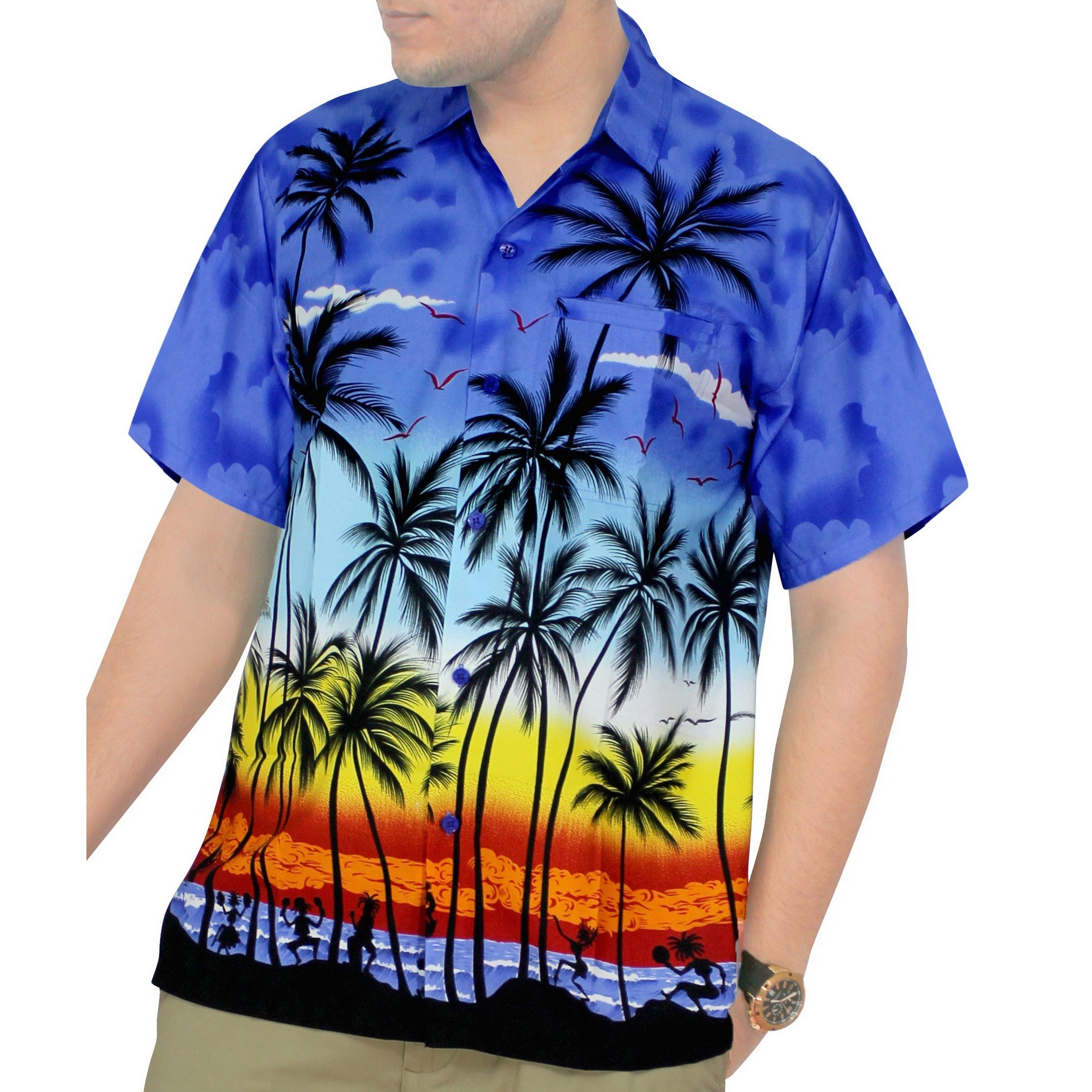 3ab0d4d3 La Leela Men's Hawaiian Aloha Print Beach Short Sleeve Swim Camp Shirt