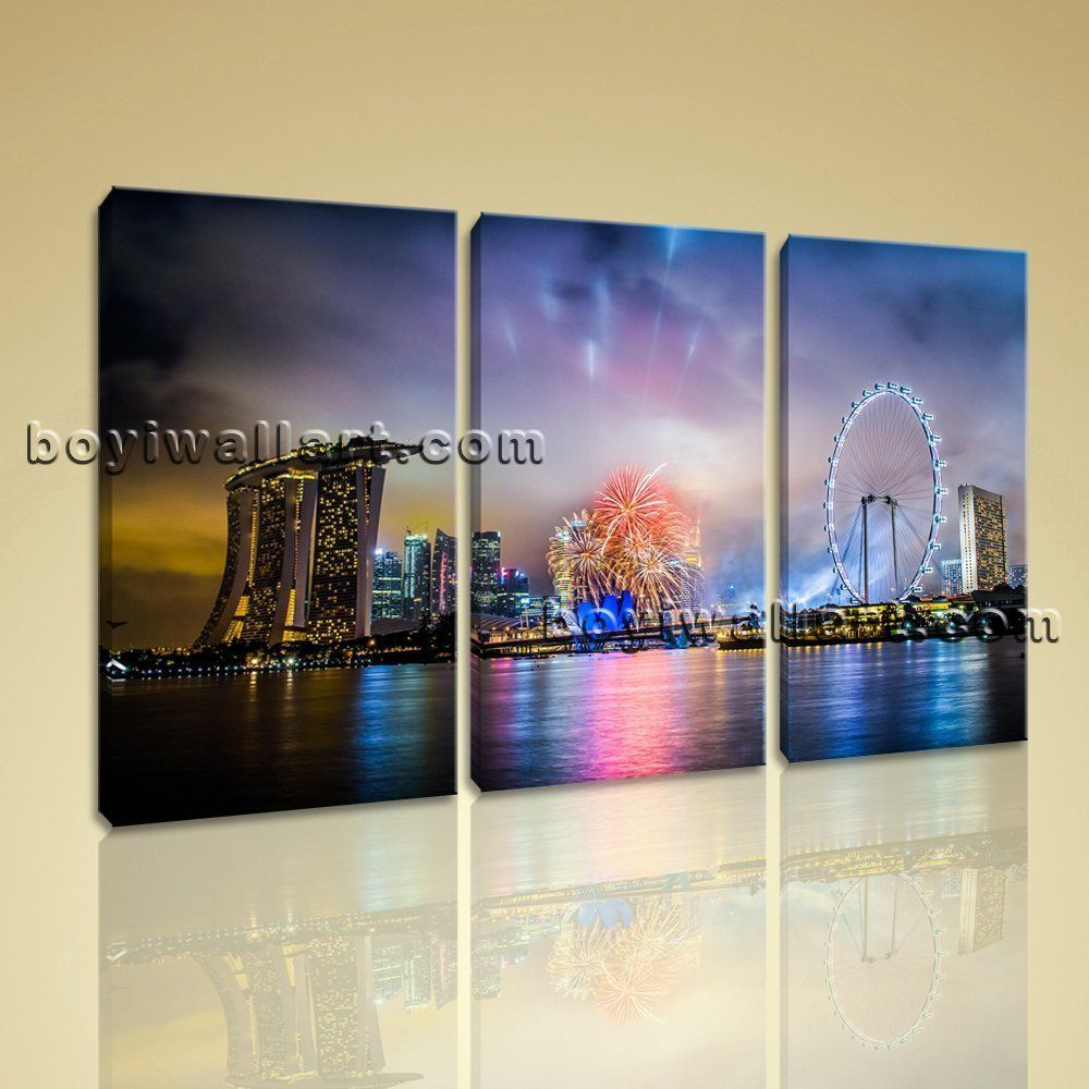 Large singapore city skyline at night cityscape giclee print on