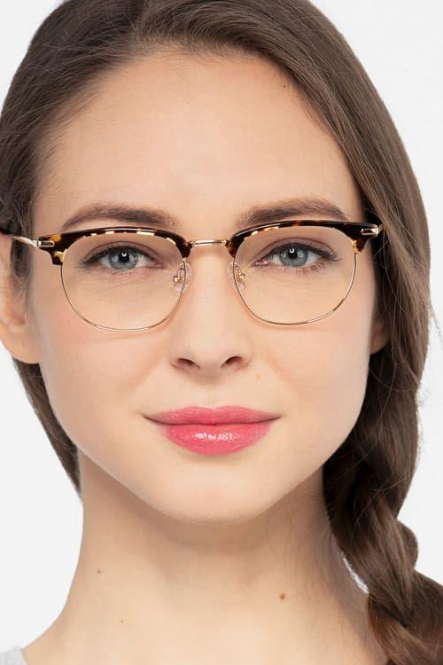Tortoise Golden Browline Prescription Eyeglasses Large