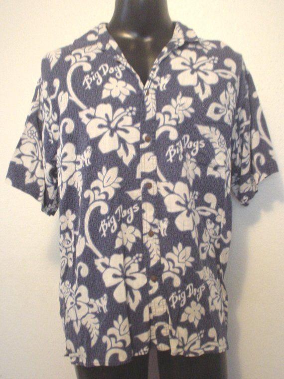 eca1fb3c4d57 Vintage Big Dogs Mens Hibiscus Hawaiian Camp Shirt Short Sleeve Coconut Button  up Floral St Bernard