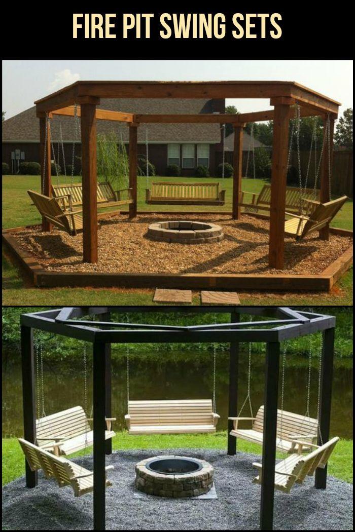 35+ Swing Set Plans Ideas | Backyard fire, Fire pit swings ...