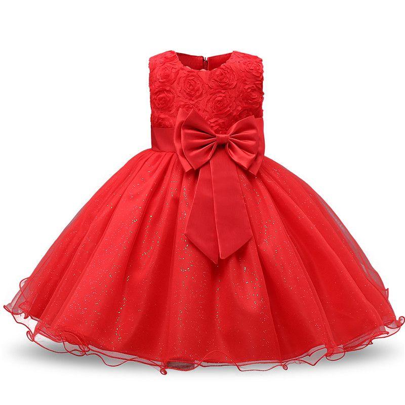 신생아 dress 키즈 파티 공주 의상 소녀 투투 Bebes 유아 1 2 년 생일 드레스 소녀 여름 빨간색