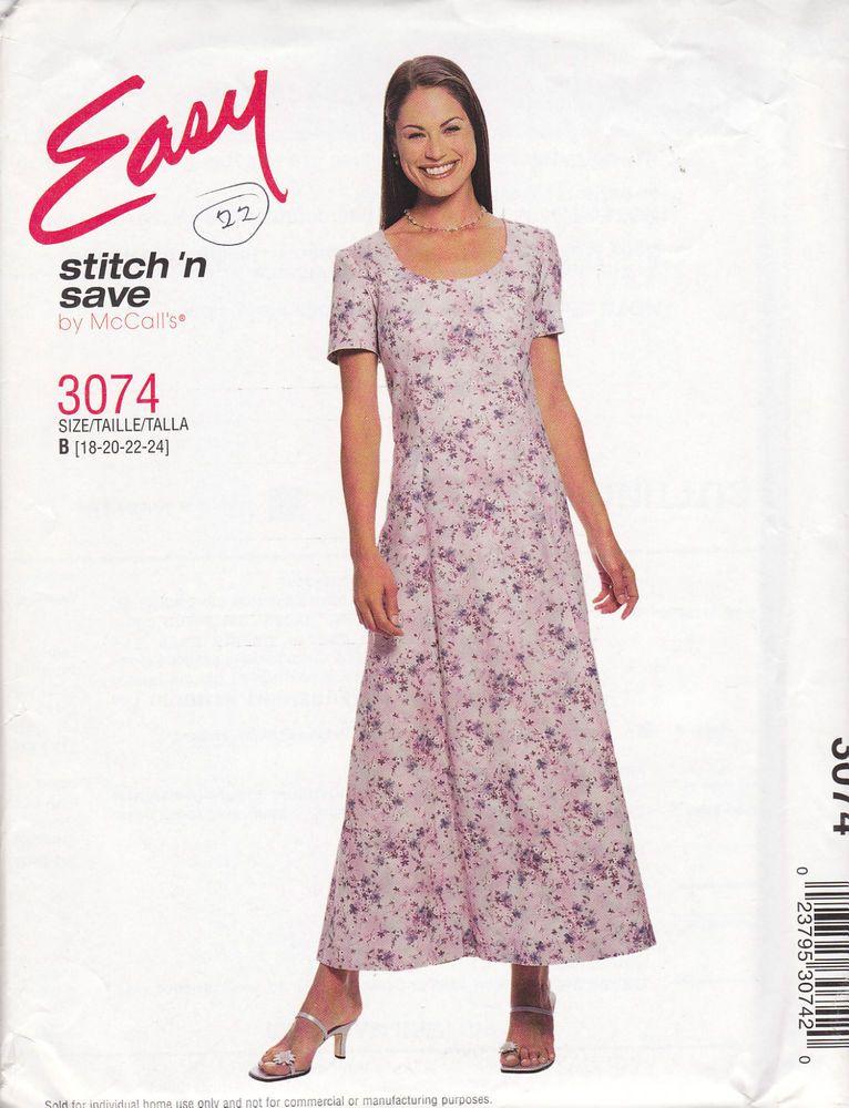 McCall\'s Stitch \'n Save PLUS SIZE Dress No 3074 Size B 18-20-22-24 ...