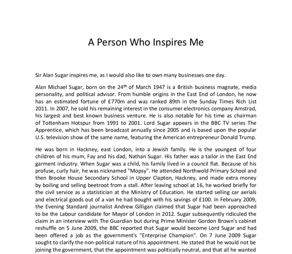 Who inspires you essay