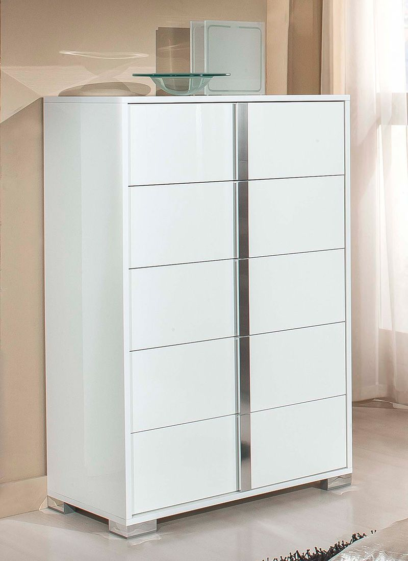 Best Elite White High Gloss Tall Chest Of Drawers Déco Maison 640 x 480