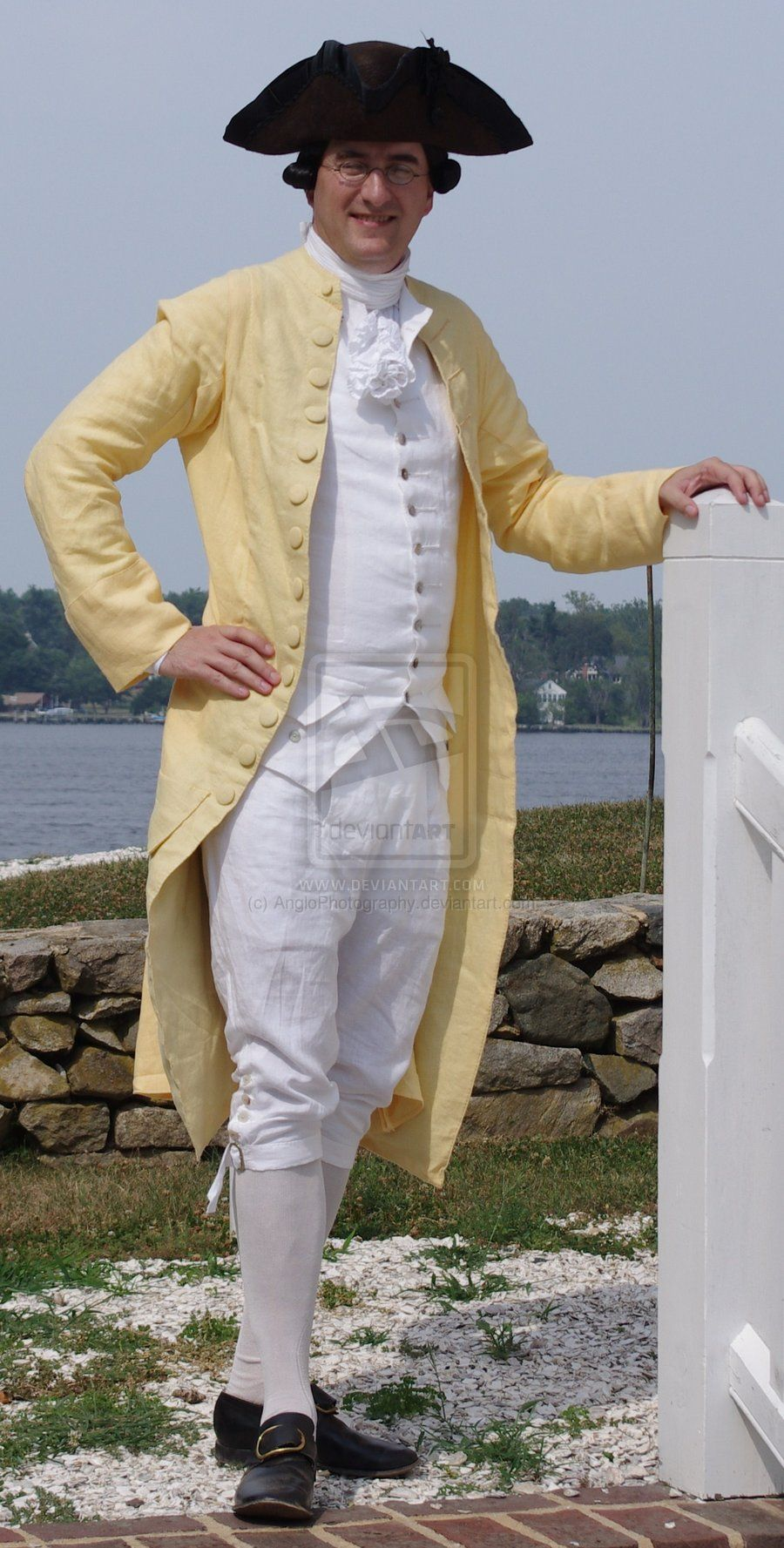 """18th Century Gentleman's Linen Summer Suit by AngloPhotography.deviantart.com on @deviantART - From the reenactor's comments: """"This is a great example of a light summer suit. It was made for me by N.Hurst, Tailor of Williamsburg, Virginia. That it is not firmly fit as to be expected in the heat of Virginia and Maryland."""""""