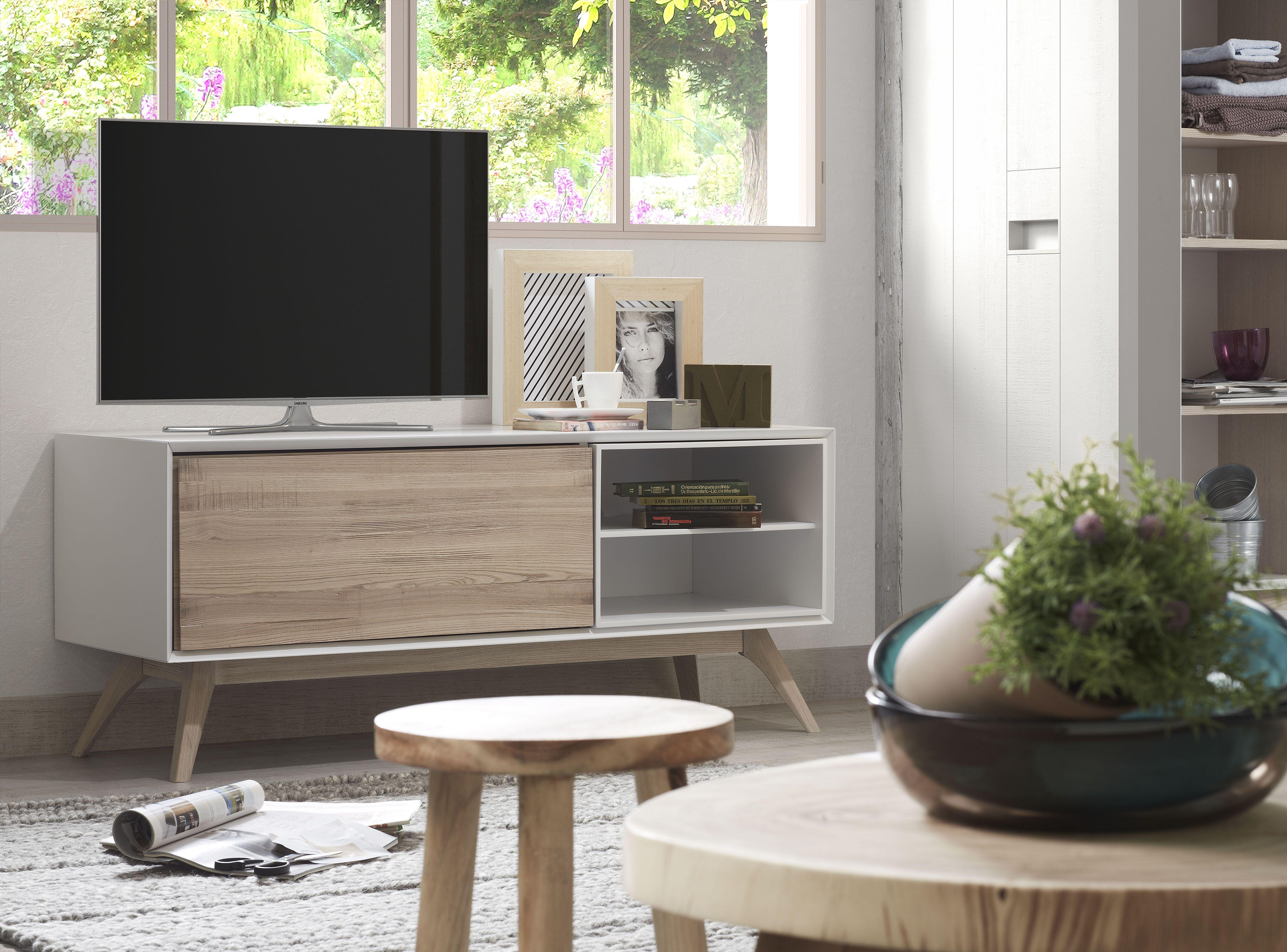 Mueble de Tv con puertas abatibles y pies de madera de fresno ...