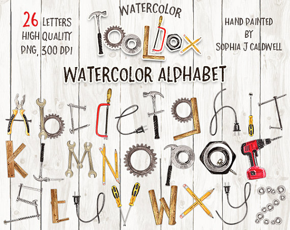 Alphabet Clipart Watercolor, Tool Clipart, Name Letters ...