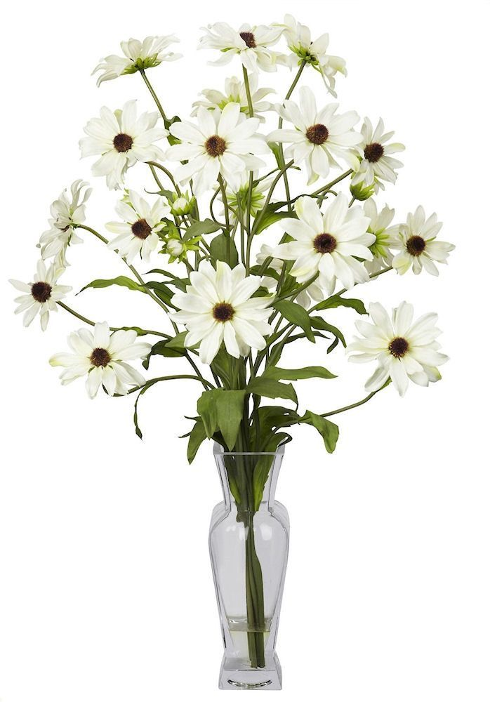 Cosmos Silk Flowers in Faux Water Vase in 5 colors | 27 inches