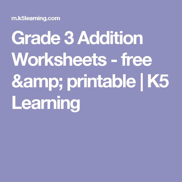 Grade 3 Addition Worksheets Free Printable K5 Learning
